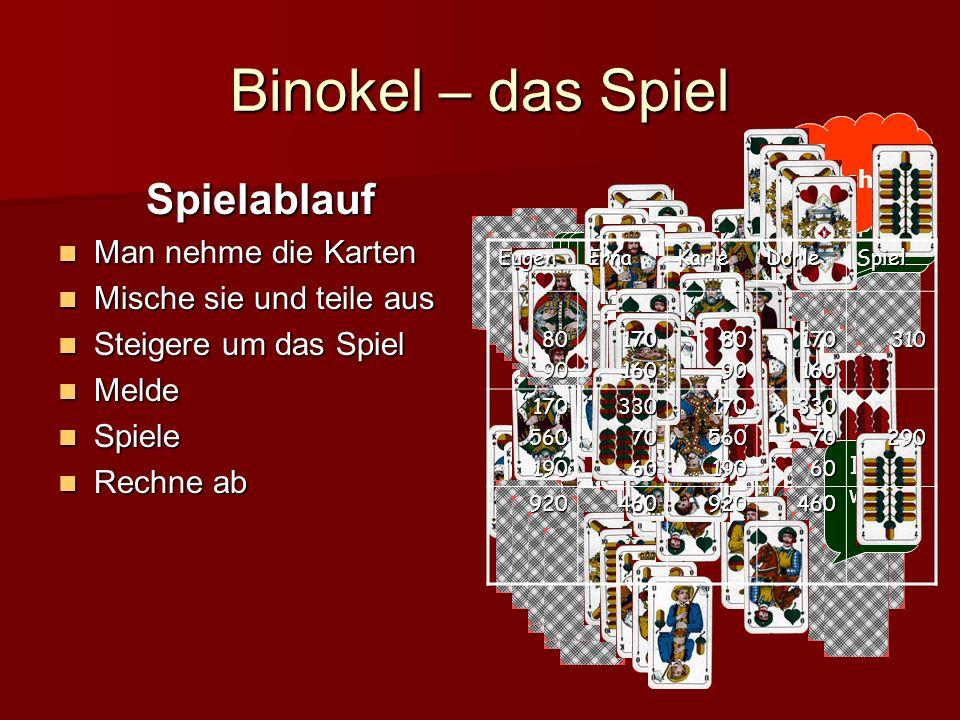 Binokel – das Spiel Varianten 3 oder 4 Spieler (auch 2, 6 oder....) Mit oder ohne Dissle Mit oder ohne Rufen Mit oder ohne (Unten-) Durch.....