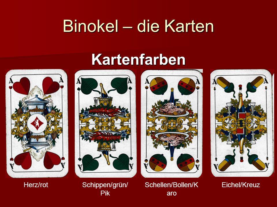 Binokel – Sonderregeln Rufen Beim Rufen (nur zu viert) nennt der Spieler mit dem höchsten Gebot eine Karte, die er gern noch hätte (bevorzugt zum Melden) Beim Rufen (nur zu viert) nennt der Spieler mit dem höchsten Gebot eine Karte, die er gern noch hätte (bevorzugt zum Melden) Der Spieler, der ihm die Karte bieten kann (der erste gegen Uhrzeigersinn) spielt die nächste Runde mit ihm zusammen und bekommt im Tausch eine andere Karte Der Spieler, der ihm die Karte bieten kann (der erste gegen Uhrzeigersinn) spielt die nächste Runde mit ihm zusammen und bekommt im Tausch eine andere Karte Die Meldewerte sind meist deutlich höher und somit wird auch höher gesteigert Die Meldewerte sind meist deutlich höher und somit wird auch höher gesteigert