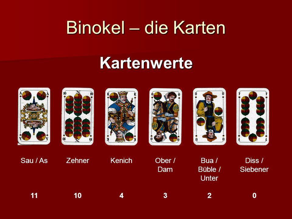 Binokel – Geben Ausgeteilt (und gespielt) wird entgegen dem Uhrzeigersinn (wie mr an Bagge nohaut) Jeder bekommt gleichviel Karten (egal wie) Es gibt einen Dapp (3-8 verdeckte Karten) Der Dapp gehört (erstmal) niemand Die Zahl der Karten (pro Spieler/imDapp) hängt von der Zahl der Mitspieler und Dissle ab (z.B 4 Spieler mit Diss 11/4 ohne 9/4 3 mit 14/6 ohne 12/4)