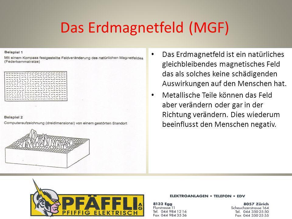 Das Erdmagnetfeld (MGF) Das Erdmagnetfeld ist ein natürliches gleichbleibendes magnetisches Feld das als solches keine schädigenden Auswirkungen auf den Menschen hat.