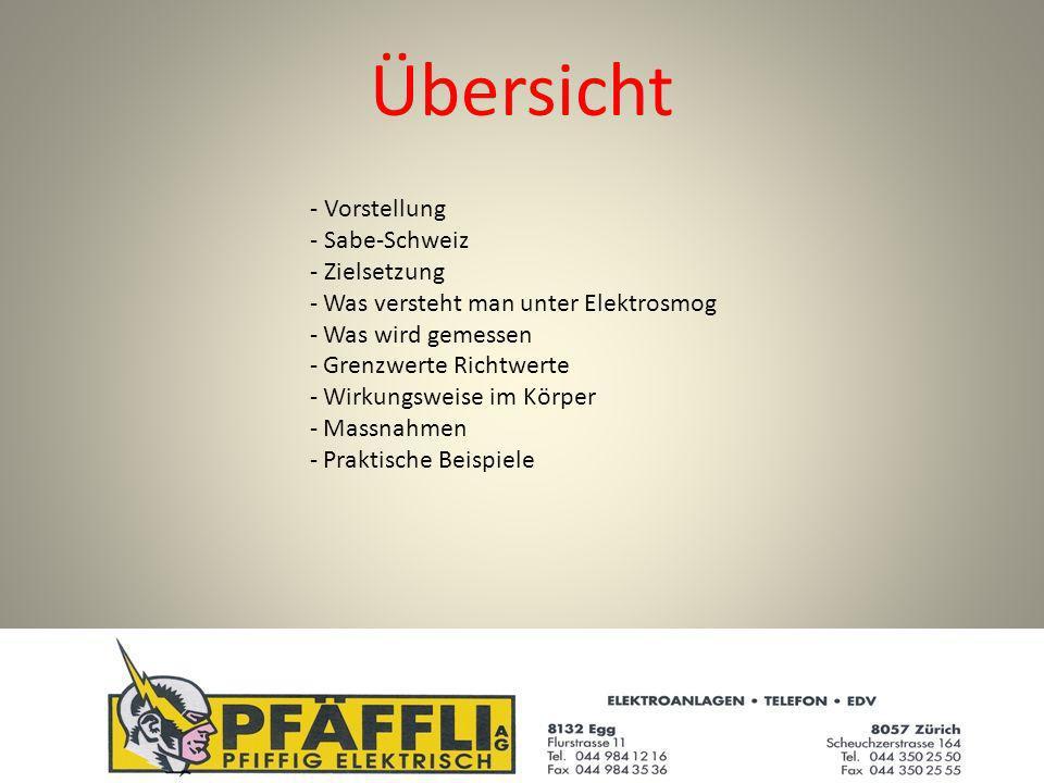 Übersicht - Vorstellung - Sabe-Schweiz - Zielsetzung - Was versteht man unter Elektrosmog - Was wird gemessen - Grenzwerte Richtwerte - Wirkungsweise im Körper - Massnahmen - Praktische Beispiele