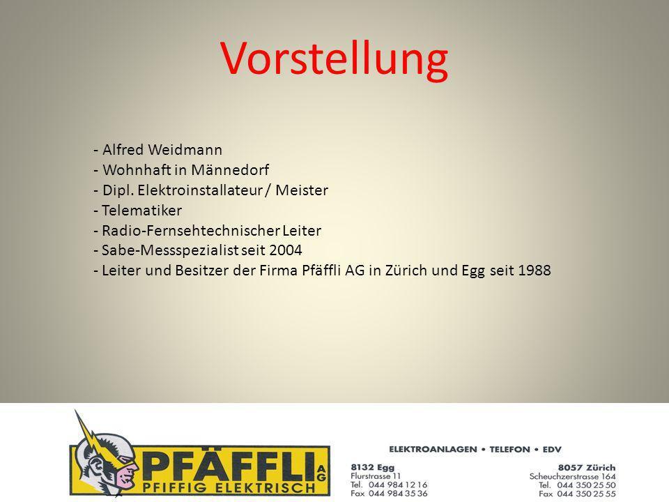 Vorstellung - Alfred Weidmann - Wohnhaft in Männedorf - Dipl.