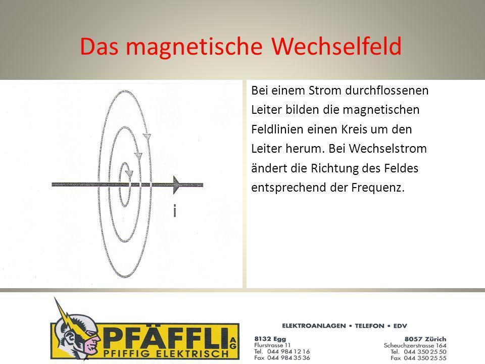 Das magnetische Wechselfeld Bei einem Strom durchflossenen Leiter bilden die magnetischen Feldlinien einen Kreis um den Leiter herum.