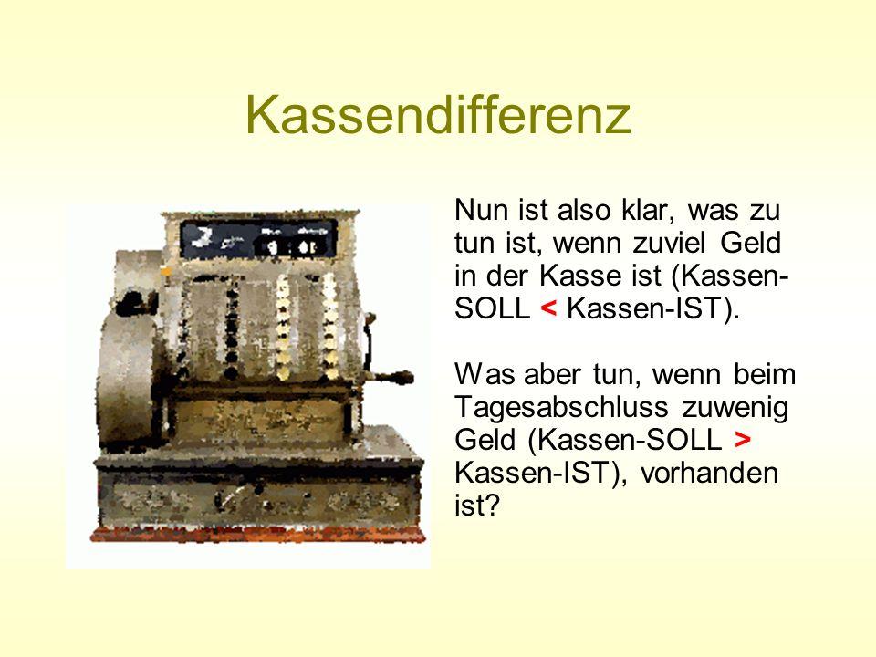 Kassendifferenz Es ist zuwenig in der Kasse (Kassendefizit) Fehler in der Buchung suchen Fehler gefunden ENDE des Arbeitsablaufs