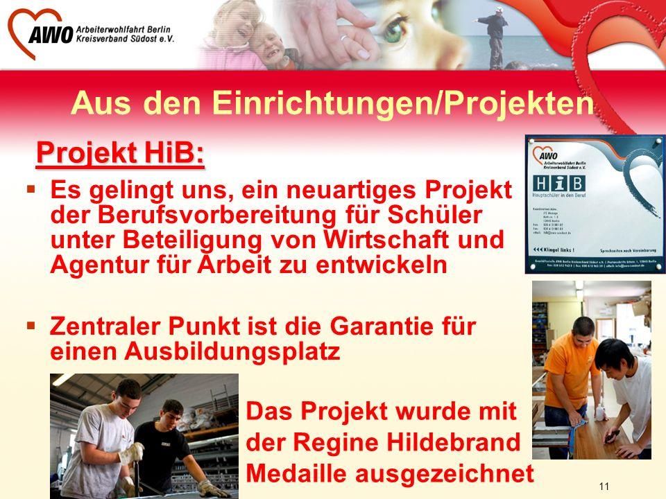 11 Aus den Einrichtungen/Projekten Projekt HiB: Es gelingt uns, ein neuartiges Projekt der Berufsvorbereitung für Schüler unter Beteiligung von Wirtsc