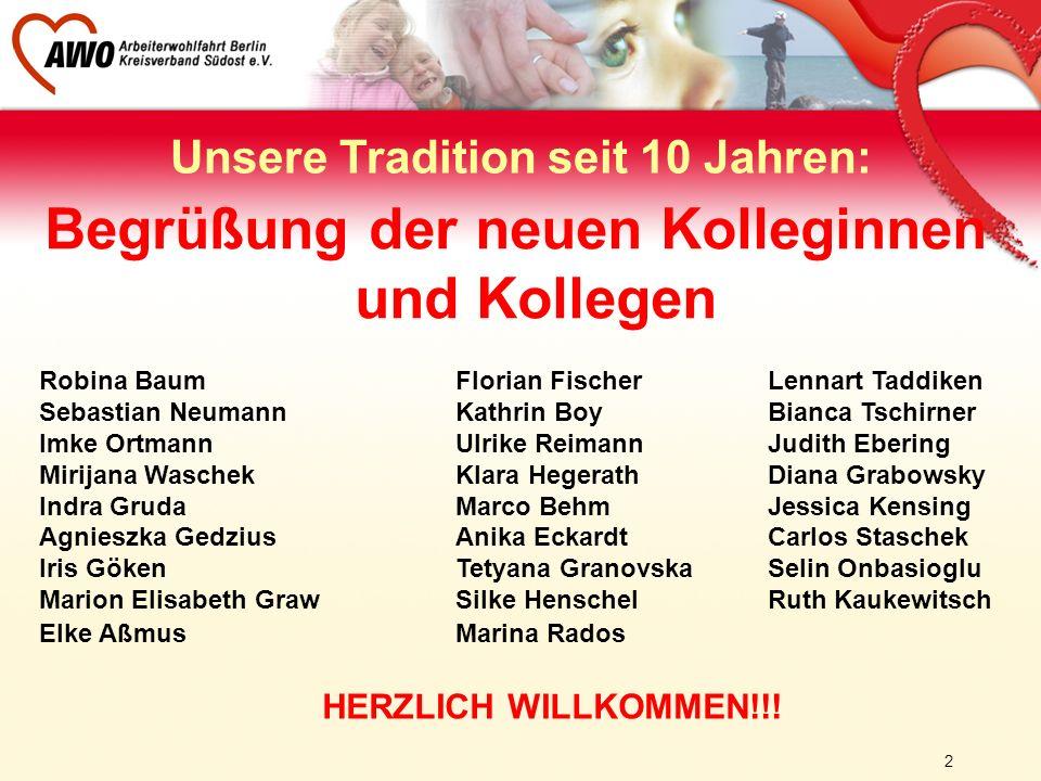 2 Unsere Tradition seit 10 Jahren: Begrüßung der neuen Kolleginnen und Kollegen Robina BaumFlorian Fischer Lennart Taddiken Sebastian NeumannKathrin B