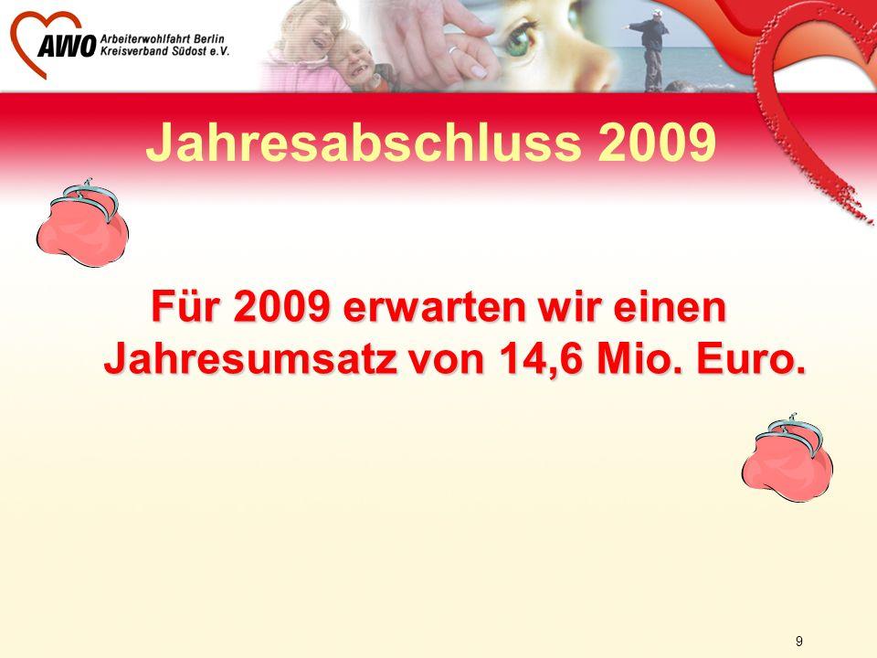 9 Für 2009 erwarten wir einen Jahresumsatz von 14,6 Mio. Euro. Jahresabschluss 2009