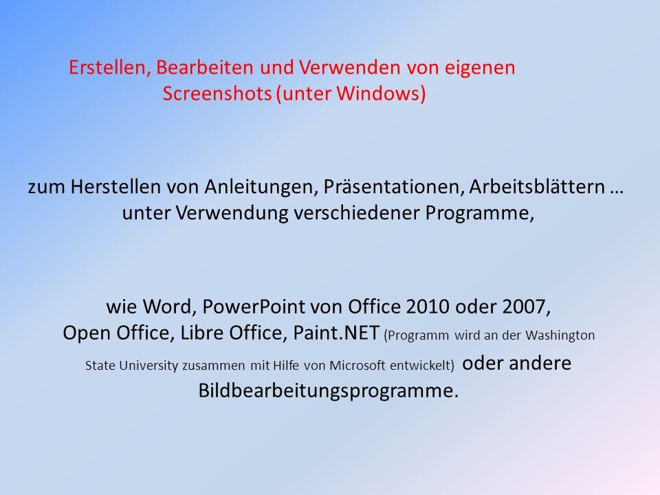 Genauer gesagt geht es bei dem Begriff Screenshot um Bildausschnitte von meinem eigenen Monitorbild zwecks Erläuterungen, Demonstrationen, Aufgabenstellungen o.ä.