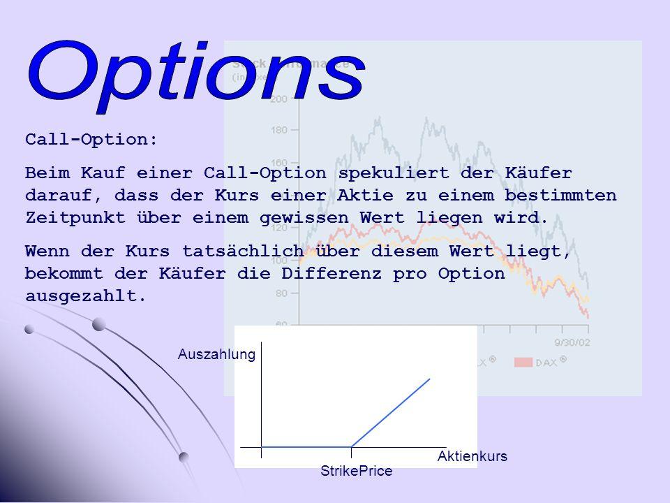 Call-Option: Beim Kauf einer Call-Option spekuliert der Käufer darauf, dass der Kurs einer Aktie zu einem bestimmten Zeitpunkt über einem gewissen Wert liegen wird.