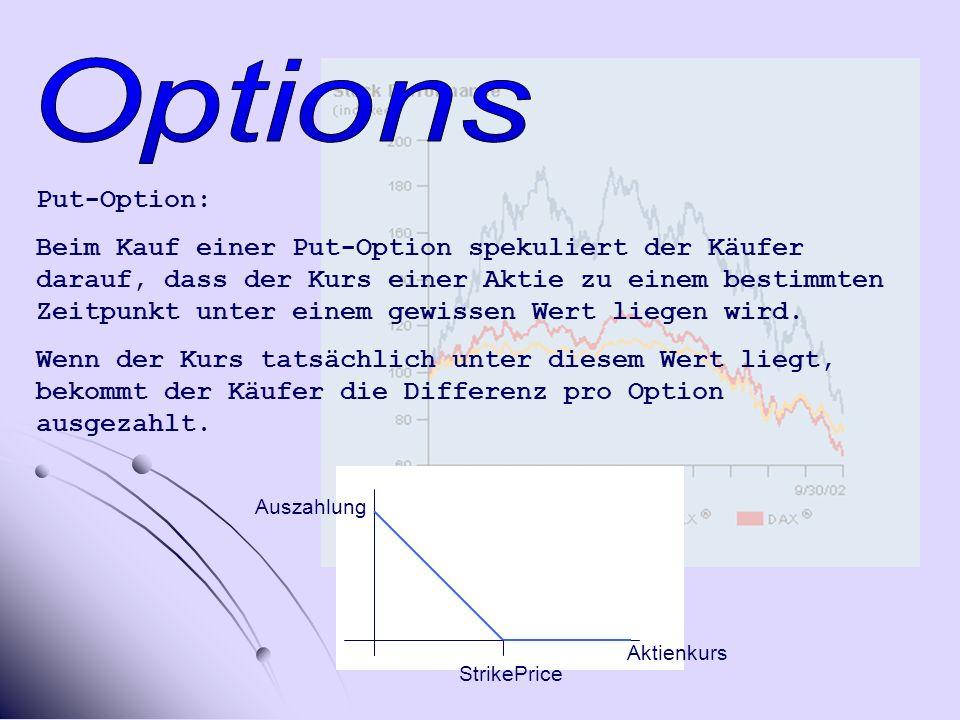 Put-Option: Beim Kauf einer Put-Option spekuliert der Käufer darauf, dass der Kurs einer Aktie zu einem bestimmten Zeitpunkt unter einem gewissen Wert liegen wird.