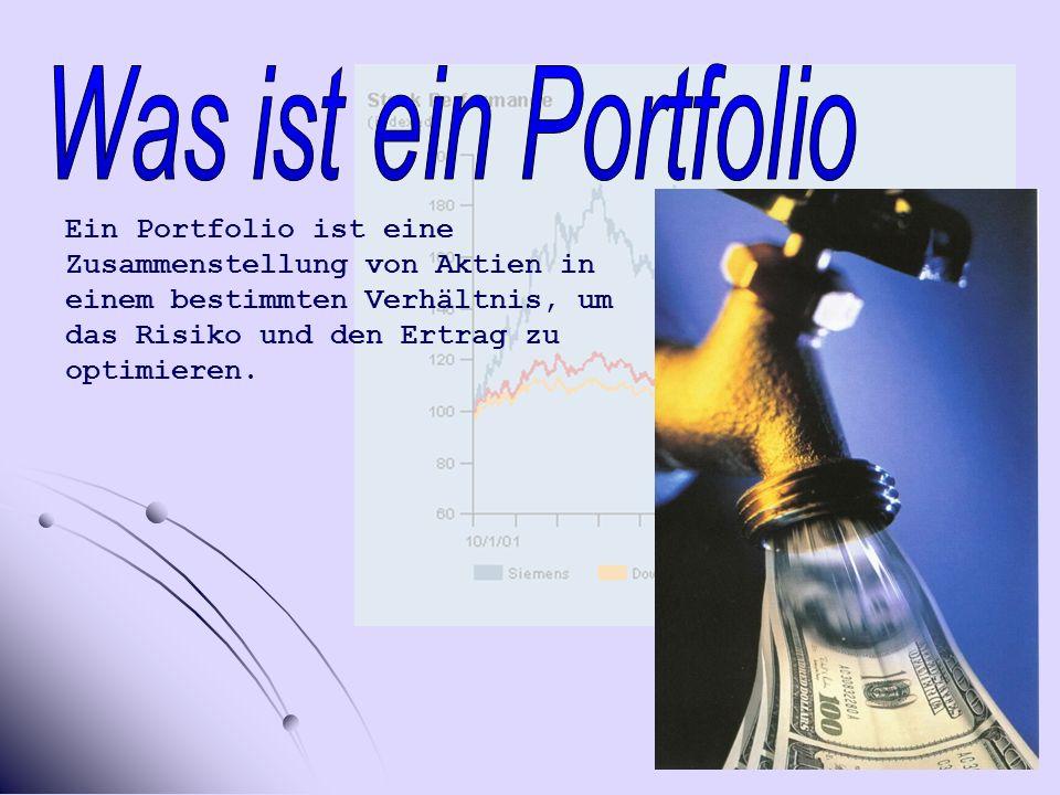 Ein Portfolio ist eine Zusammenstellung von Aktien in einem bestimmten Verhältnis, um das Risiko und den Ertrag zu optimieren.
