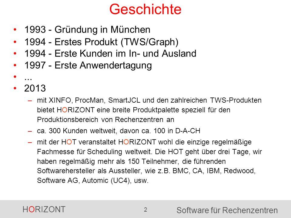 HORIZONT 2 Software für Rechenzentren Geschichte 1993 - Gründung in München 1994 - Erstes Produkt (TWS/Graph) 1994 - Erste Kunden im In- und Ausland 1997 - Erste Anwendertagung...