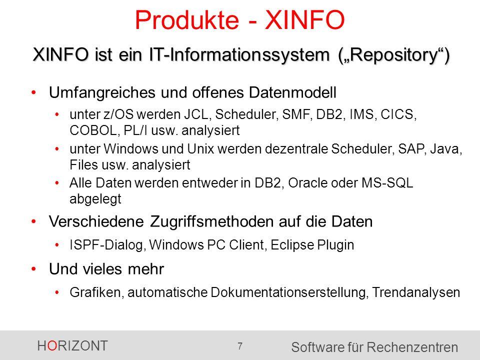HORIZONT 7 Software für Rechenzentren Produkte - XINFO XINFO ist ein IT-Informationssystem (Repository) Umfangreiches und offenes Datenmodell unter z/OS werden JCL, Scheduler, SMF, DB2, IMS, CICS, COBOL, PL/I usw.