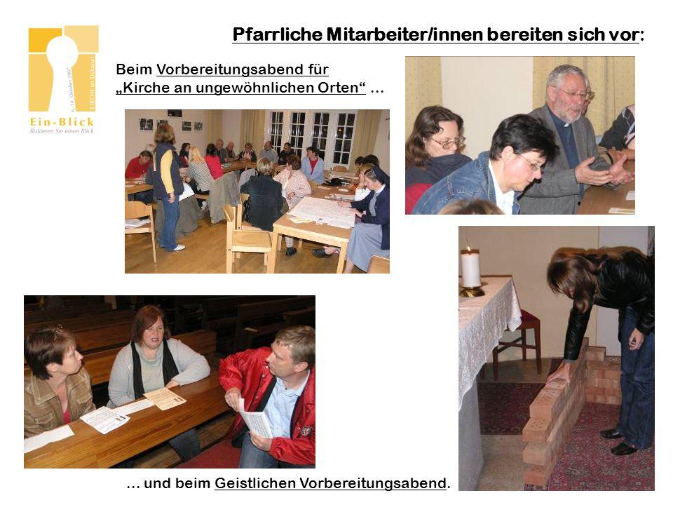 Pfarrliche Mitarbeiter/innen bereiten sich vor: Beim Vorbereitungsabend für Kirche an ungewöhnlichen Orten......