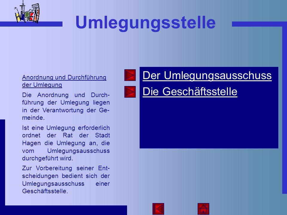 Der Umlegungsausschuss Die Geschäftsstelle Umlegungsstelle Anordnung und Durchführung der Umlegung Die Anordnung und Durch- führung der Umlegung liege