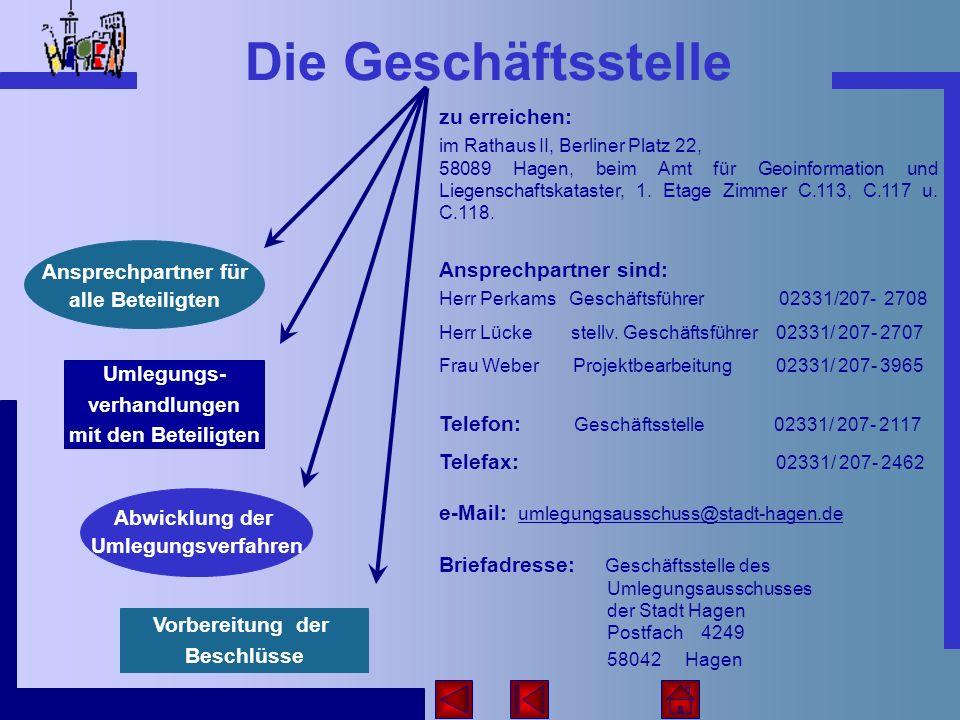 Die Geschäftsstelle zu erreichen: im Rathaus II, Berliner Platz 22, 58089 Hagen, beim Amt für Geoinformation und Liegenschaftskataster, 1. Etage Zimme