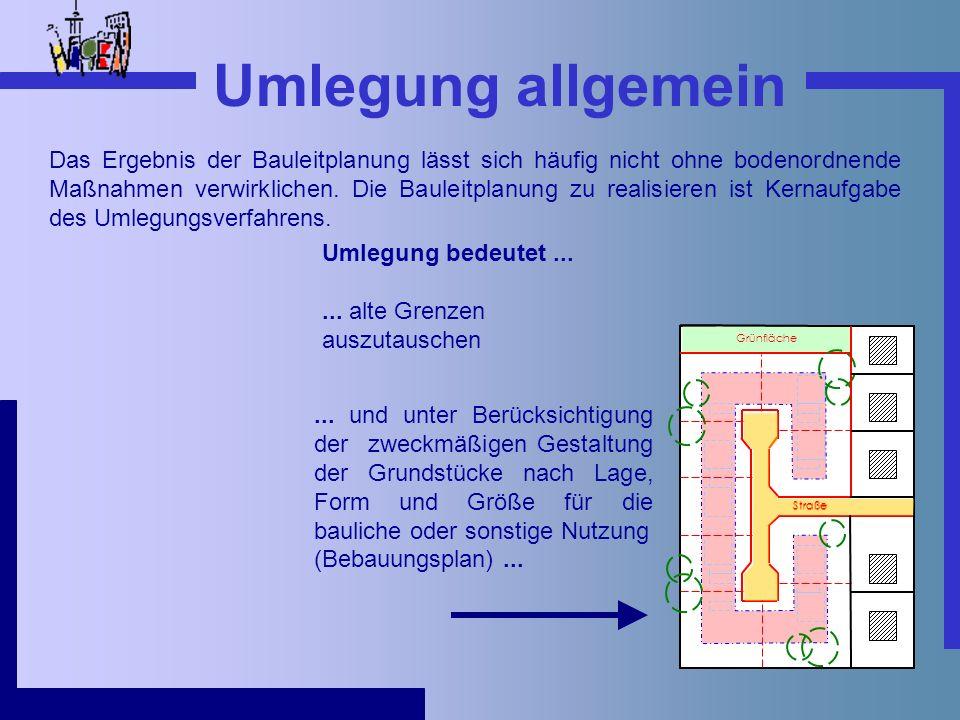 Umlegung allgemein Das Ergebnis der Bauleitplanung lässt sich häufig nicht ohne bodenordnende Maßnahmen verwirklichen. Die Bauleitplanung zu realisier