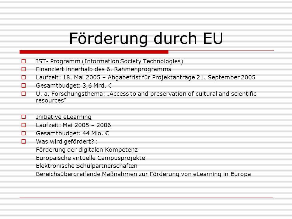Förderung durch EU IST- Programm (Information Society Technologies) Finanziert innerhalb des 6.