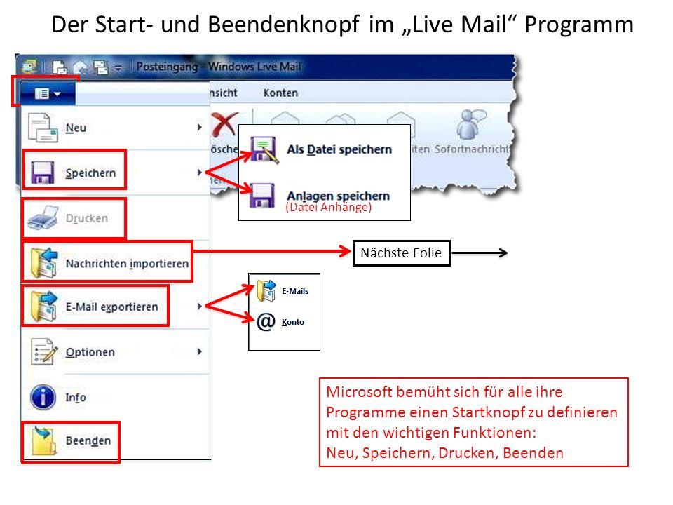 Der Start- und Beendenknopf im Live Mail Programm Start- knopf Microsoft bemüht sich für alle ihre Programme einen Startknopf zu definieren mit den wichtigen Funktionen: Neu, Speichern, Drucken, Beenden (Datei Anhänge) Nächste Folie