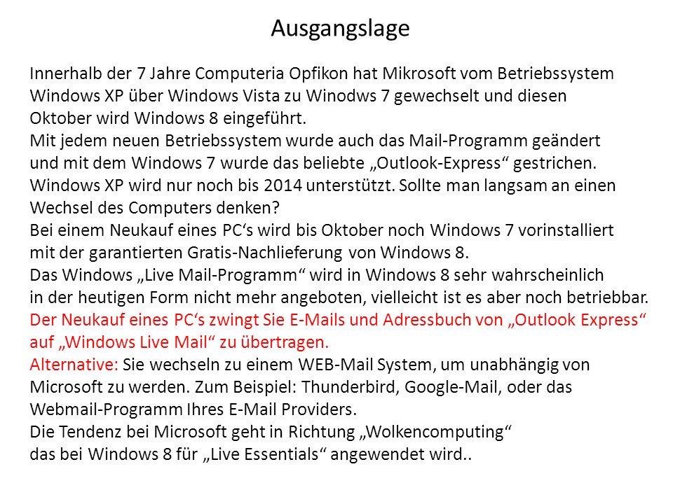 Ausgangslage Innerhalb der 7 Jahre Computeria Opfikon hat Mikrosoft vom Betriebssystem Windows XP über Windows Vista zu Winodws 7 gewechselt und diesen Oktober wird Windows 8 eingeführt.