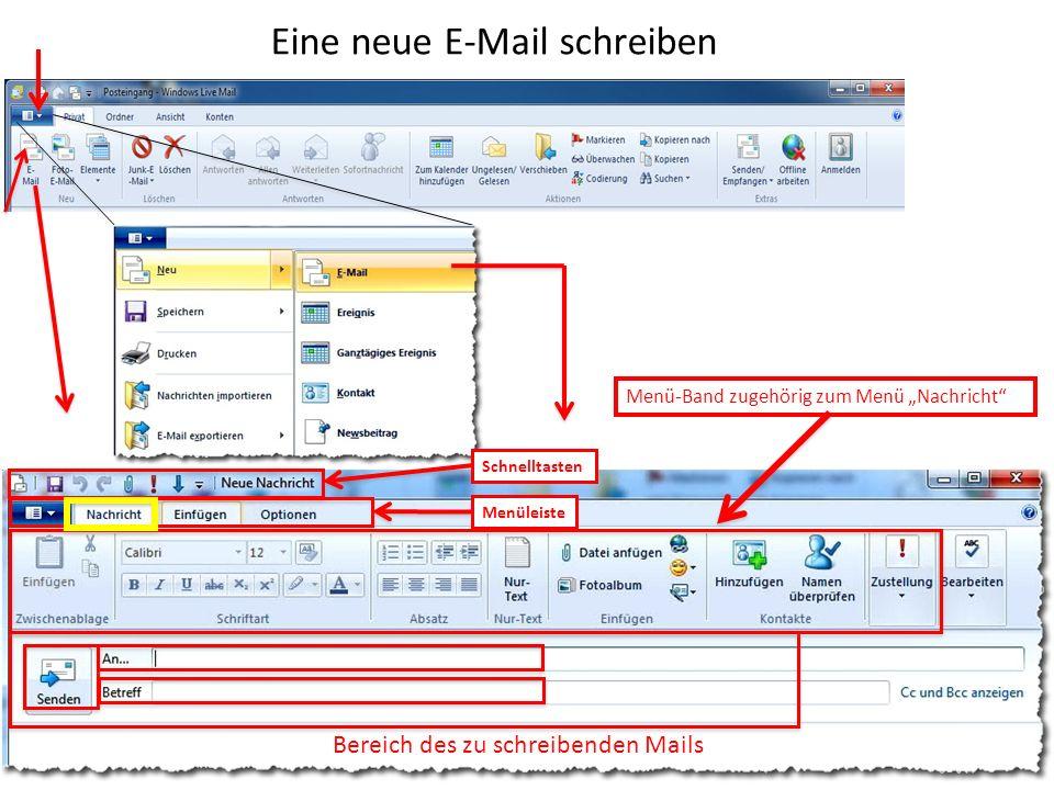 Eine neue E-Mail schreiben Bereich des zu schreibenden Mails Schnelltasten Menüleiste Menü-Band zugehörig zum Menü Nachricht