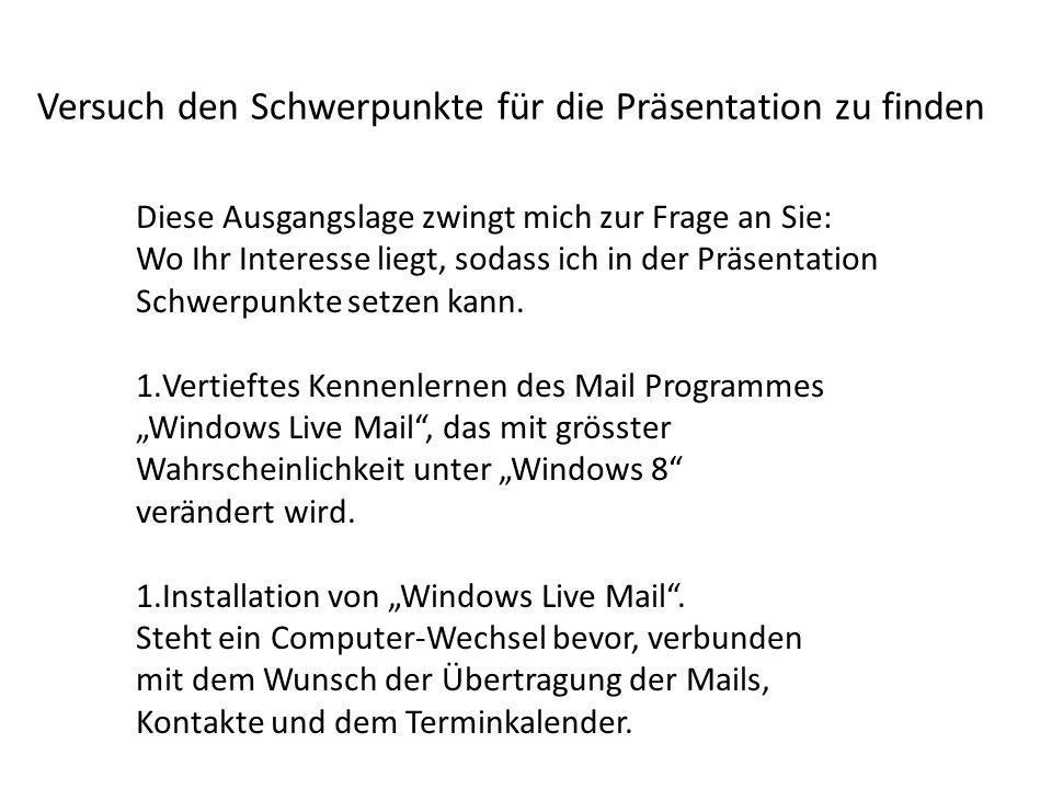 2.Teil Installation von Windows Live Mail.
