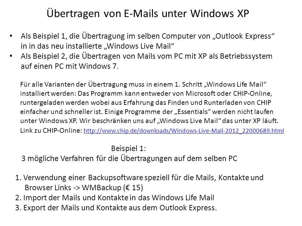 Übertragen von E-Mails unter Windows XP Beispiel 1: 3 mögliche Verfahren für die Übertragungen auf dem selben PC 1.