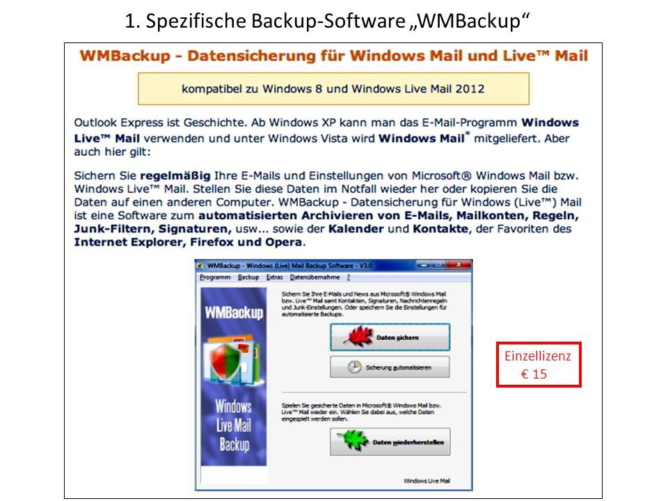 1. Spezifische Backup-Software WMBackup Einzellizenz 15