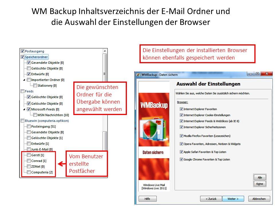 WM Backup Inhaltsverzeichnis der E-Mail Ordner und die Auswahl der Einstellungen der Browser Die gewünschten Ordner für die Übergabe können angewählt werden Die Einstellungen der installierten Browser können ebenfalls gespeichert werden Vom Benutzer erstellte Postfächer