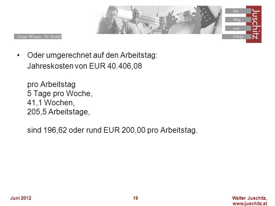 Walter Juschitz, www.juschitz.at Juni 201219 Oder umgerechnet auf den Arbeitstag: Jahreskosten von EUR 40.406,08 pro Arbeitstag 5 Tage pro Woche, 41,1
