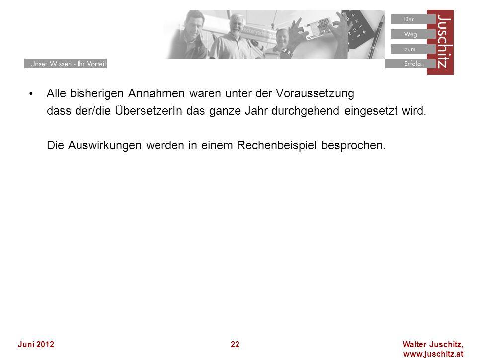 Walter Juschitz, www.juschitz.at Juni 201222 Alle bisherigen Annahmen waren unter der Voraussetzung dass der/die ÜbersetzerIn das ganze Jahr durchgehend eingesetzt wird.