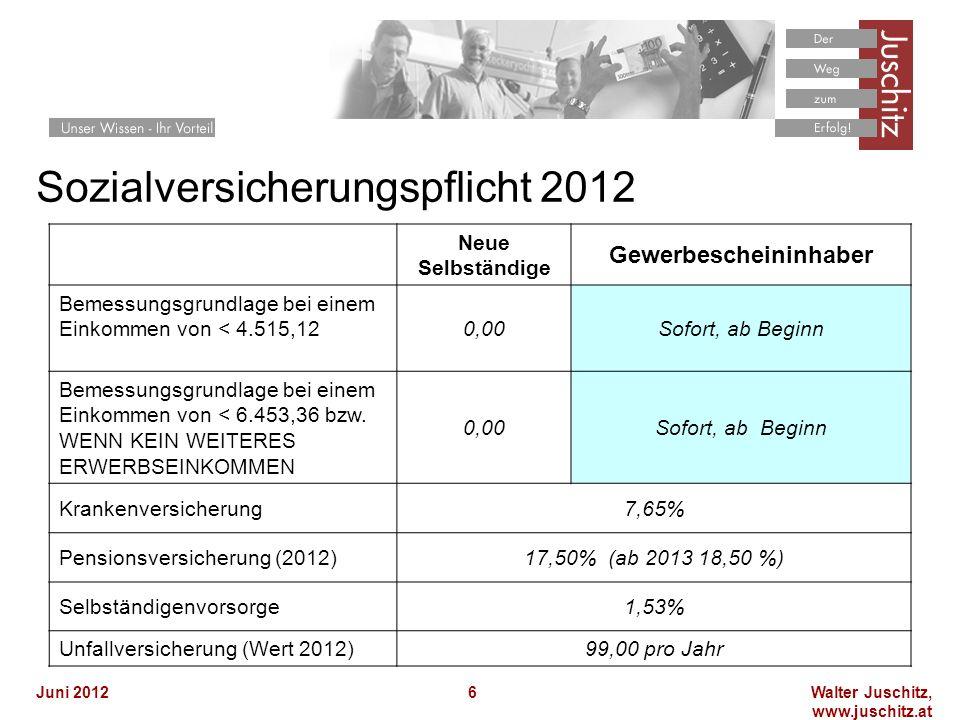 Walter Juschitz, www.juschitz.at Juni 20126 Sozialversicherungspflicht 2012 Ab Beginn, sofort Neue Selbständige Gewerbescheininhaber Bemessungsgrundlage bei einem Einkommen von < 4.515,120,00Sofort, ab Beginn Bemessungsgrundlage bei einem Einkommen von < 6.453,36 bzw.