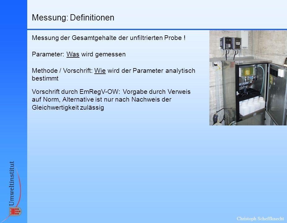 Christoph Scheffknecht Messung: Definitionen Methode / Vorschrift: Wie wird der Parameter analytisch bestimmt Parameter: Was wird gemessen Vorschrift durch EmRegV-OW: Vorgabe durch Verweis auf Norm, Alternative ist nur nach Nachweis der Gleichwertigkeit zulässig Messung der Gesamtgehalte der unfiltrierten Probe !