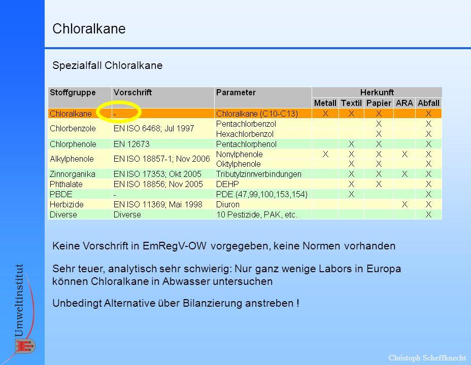 Christoph Scheffknecht Chloralkane Spezialfall Chloralkane Keine Vorschrift in EmRegV-OW vorgegeben, keine Normen vorhanden Sehr teuer, analytisch sehr schwierig: Nur ganz wenige Labors in Europa können Chloralkane in Abwasser untersuchen Unbedingt Alternative über Bilanzierung anstreben !