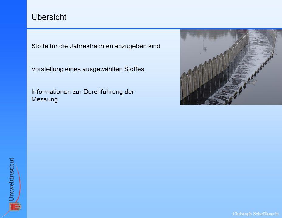 Christoph Scheffknecht Stoffe für die Jahresfrachten zu ermitteln sind EmRegV-OW Anlage A, Tabelle 2: Welche Stoffe können branchenspezifisch vorhanden sein; fachliche Auswahl Sonderfall Kommunale Kläranlagen: Weitere Einschränkung der zu messenden Stoffe durch Erlass EmRegV-OW, Anlage A, Tabelle 1: Verzeichnis zusätzlicher Abwasserinhaltsstoffe (Wasserrahmen- richtlinie, PRTR, QZVChemie-OG etc.) Stoffe, deren Messung bereits per Bescheid vorgeschrieben ist