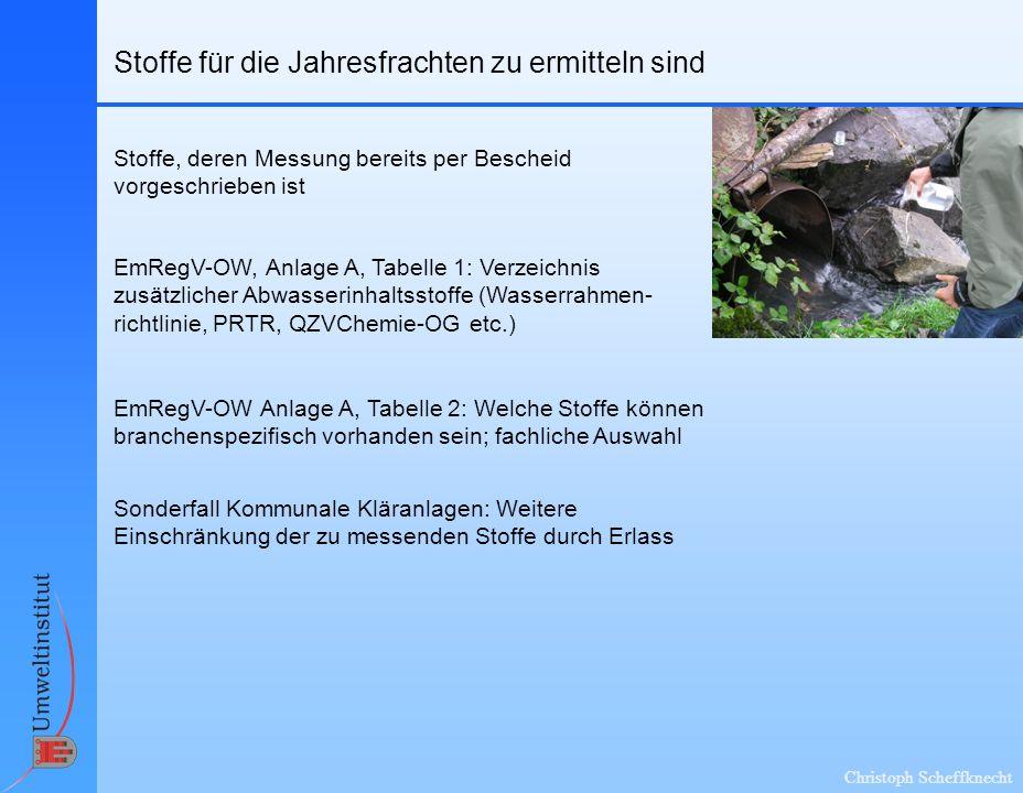 Christoph Scheffknecht Ermittlung der Jahresfracht zusätzlicher Stoffe Die folgende Betrachtung bezieht sich auf Stoffe der Anlage A, Tabelle 2, Spalte IV, die nicht im Bescheid geregelt sind: Grundsätzlich: Ermittlung durch Einzelmessungen .