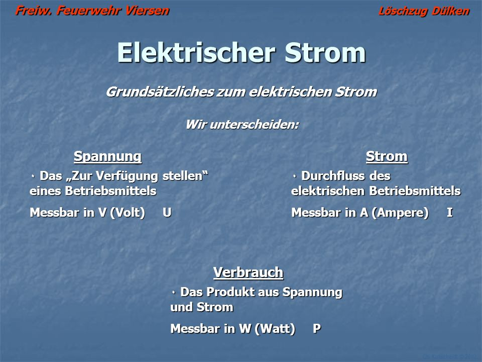 Ch. Kutscheidt © 2002 Grundsätzliches zum elektrischen Strom Wir unterscheiden: Elektrischer Strom SpannungStrom ۰ Das Zur Verfügung stellen eines Bet
