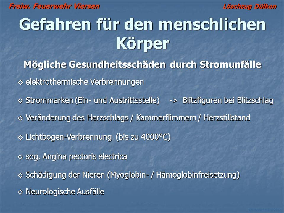 Freiw. Feuerwehr Viersen Löschzug Dülken Ch. Kutscheidt © 2002 Gefahren für den menschlichen Körper Mögliche Gesundheitsschäden durch Stromunfälle ele