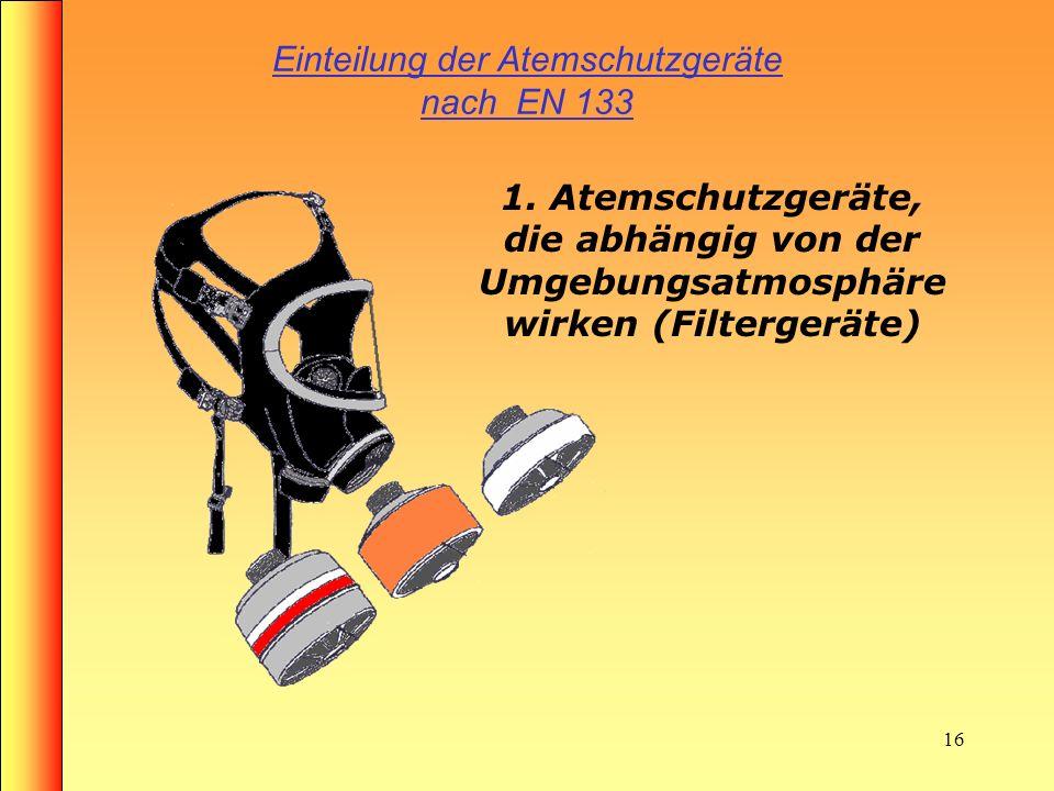 15 Atemschutzgeräte Atemschutzgeräte sind Geräte, die es dem Träger ermöglichen, sich unter Aufrechterhaltung seiner Atmung in gesundheitsschädigender