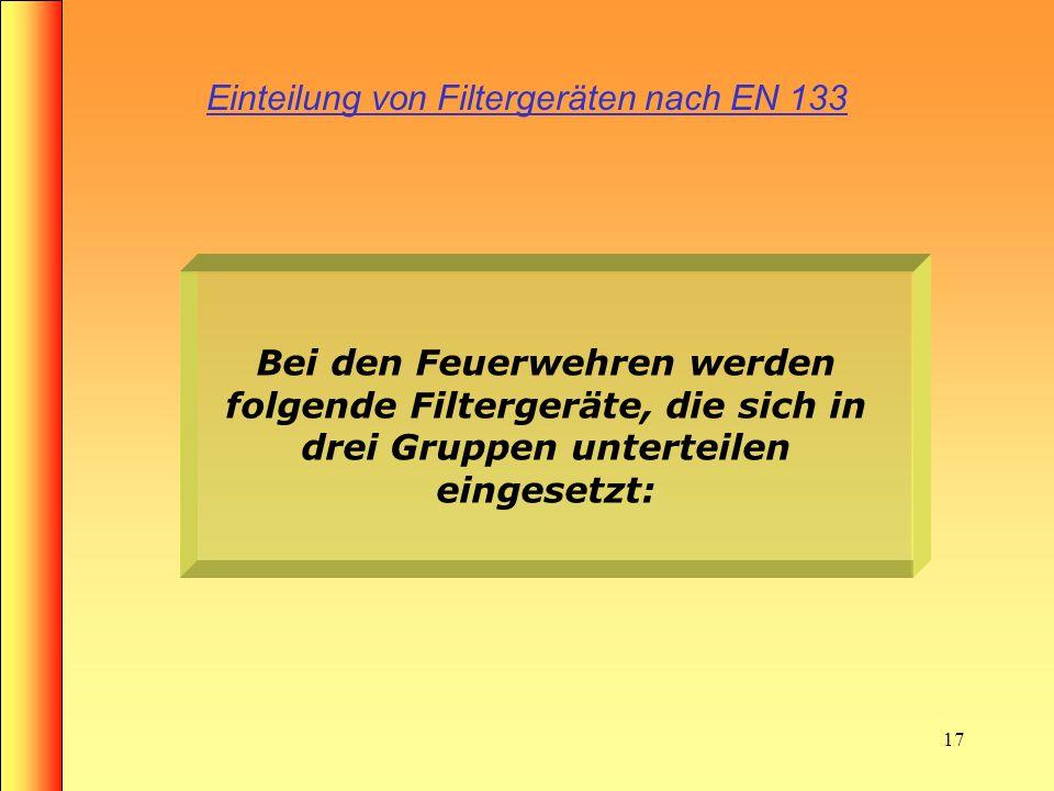 16 Einteilung der Atemschutzgeräte nach EN 133 1. Atemschutzgeräte, die abhängig von der Umgebungsatmosphäre wirken (Filtergeräte)