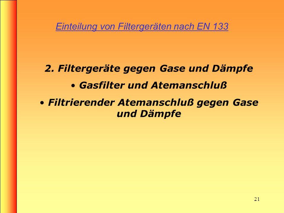 20 Aufbau eines Partikelfilters Rundgewindeanschluss Lufteintrittsöffnung Partikelfilter (feine Fasern)