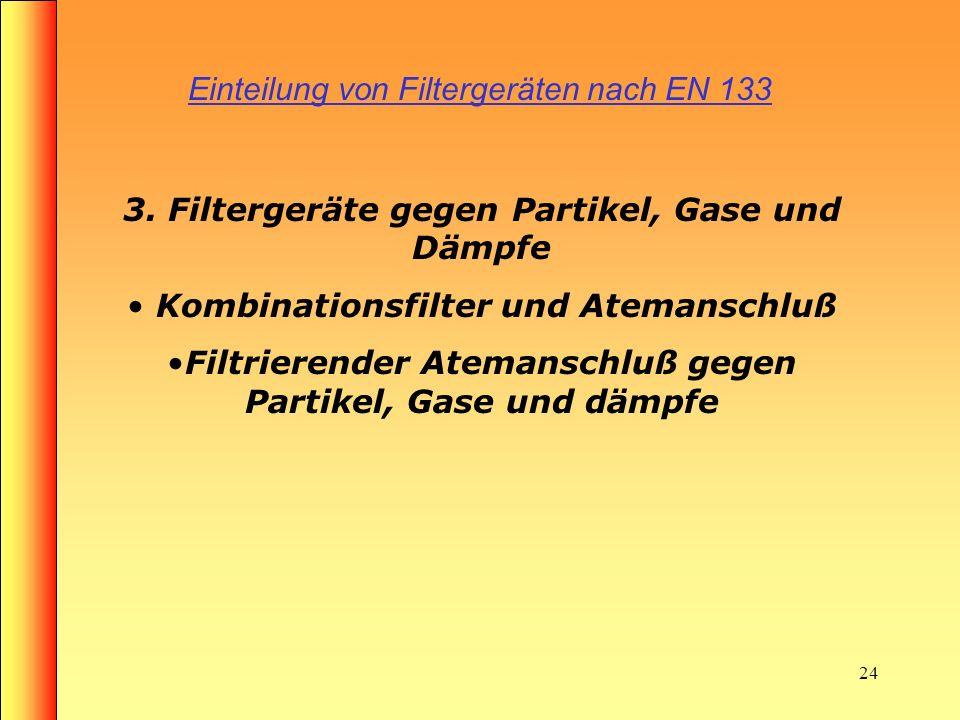 23 Aufbau eines Gasfilters Rundgewindeanschluss Lufteintrittsöffnung Gasfilter (Aktivkohle) Lochscheibe mit Sieb