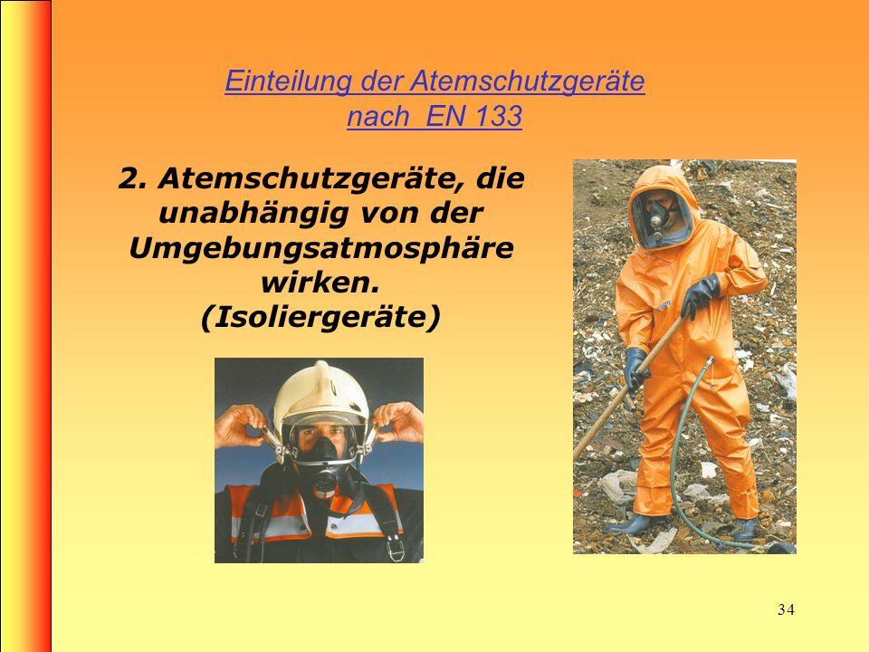 33 Filtergeräte Merke: Filtergeräte: sind Umluftabhängige Geräte schützen nicht vor Sauerstoffmangel sind nicht in geschlossenen Räumen nur als Flucht