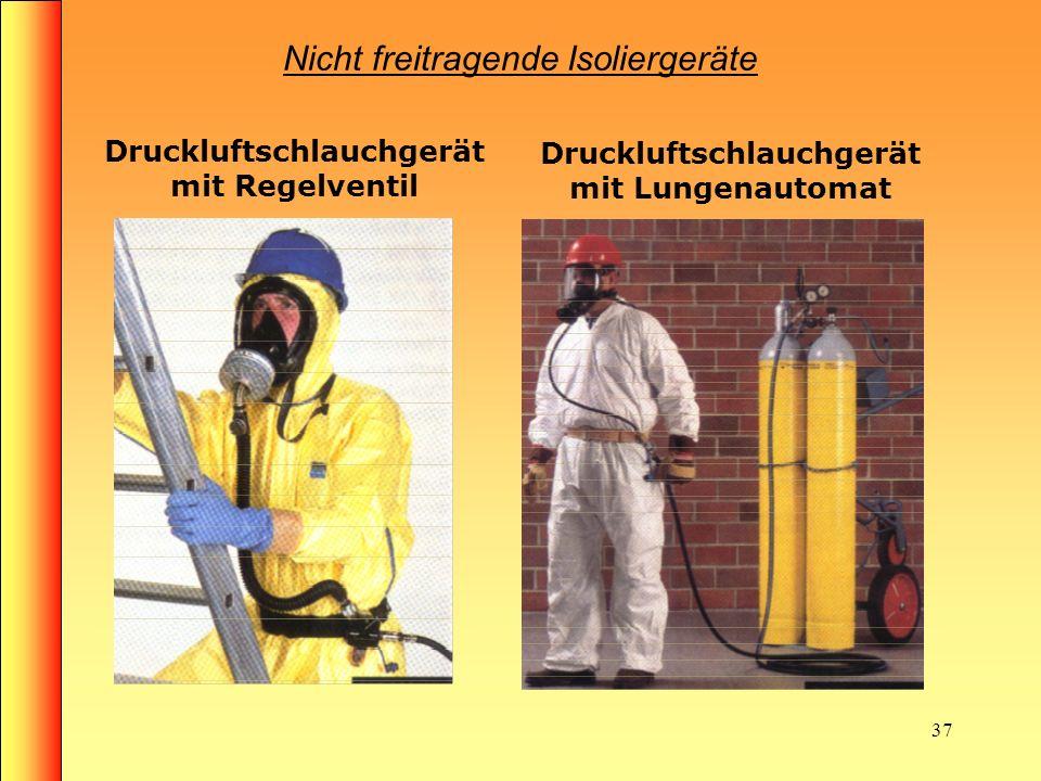 36 Nicht freitragende Isoliergeräte Saugschlauchgeräte max. Schlauchlänge 10m (Atemwiderstand) Frischluftschlauchgeräte mit Motorgebläse max. Schlauch
