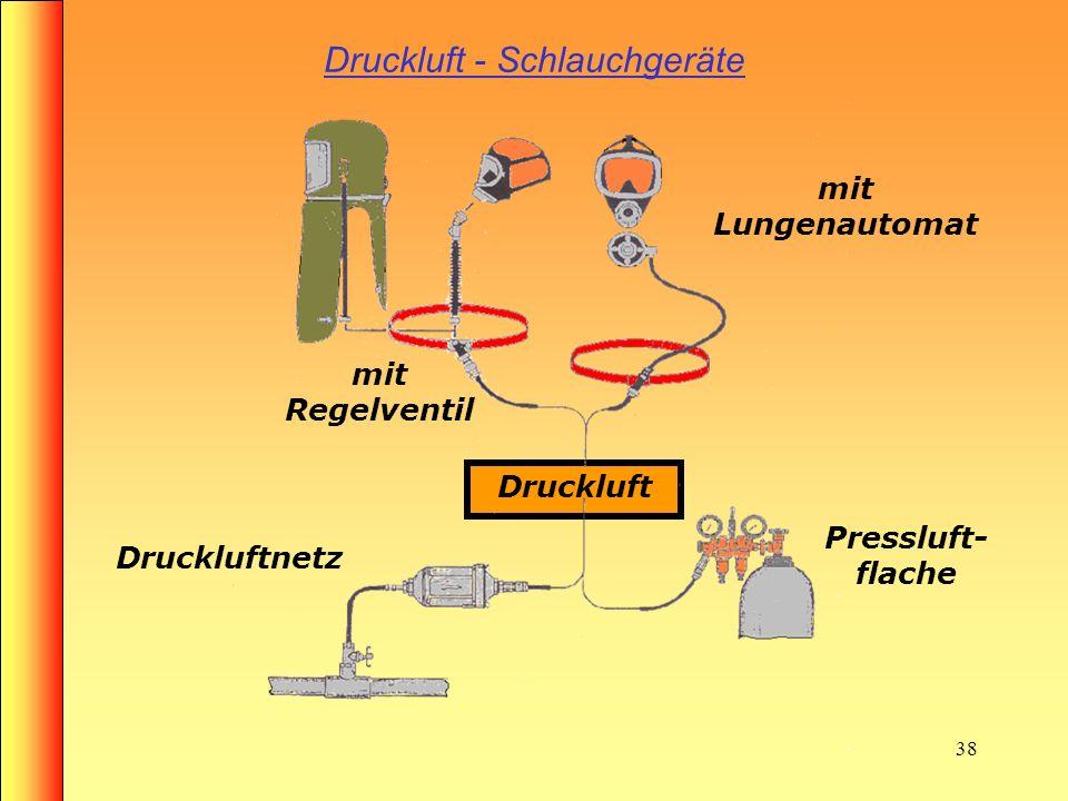 37 Nicht freitragende Isoliergeräte Druckluftschlauchgerät mit Lungenautomat Druckluftschlauchgerät mit Regelventil