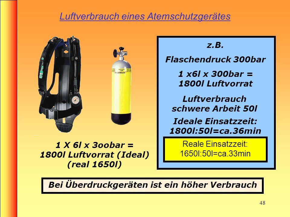 47 Luftverbrauch eines Atemschutzgerätes 2 X 4l x 2oobar = 1600l Luftvorrat z.B. Flaschendruck 2 x4l x 200bar = 1600l Luftvorrat Luftverbrauch Schwere