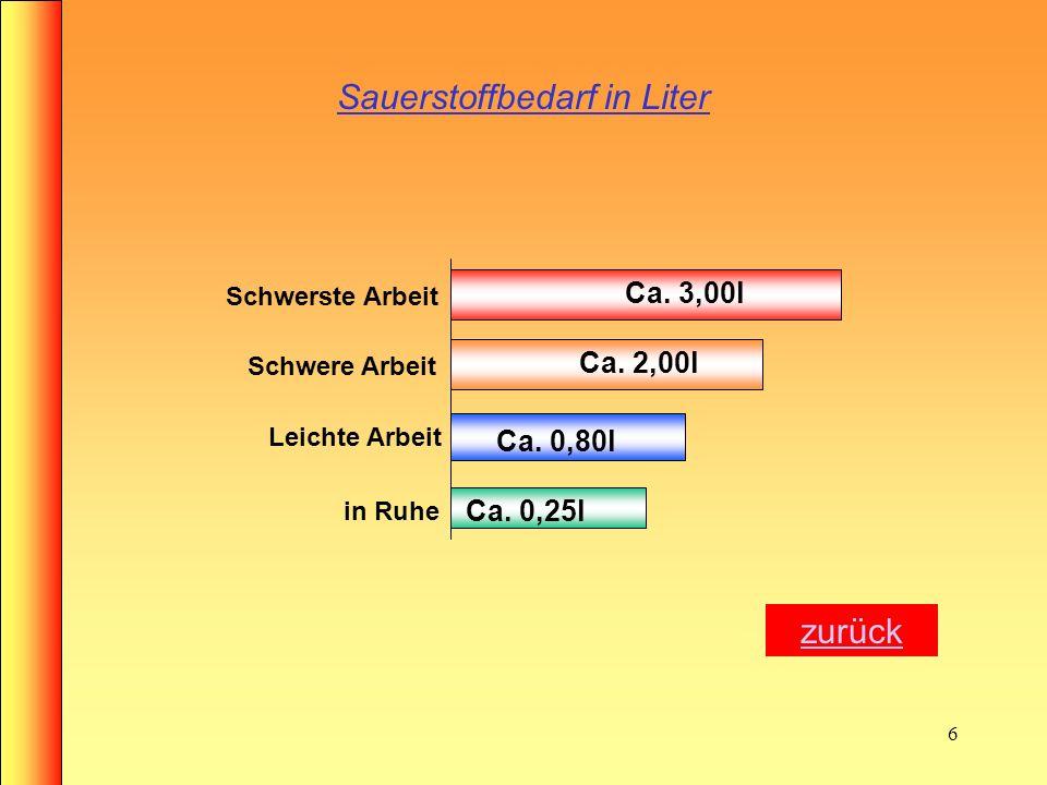 6 Sauerstoffbedarf in Liter Ca.0,25l Ca. 0,80l Ca.