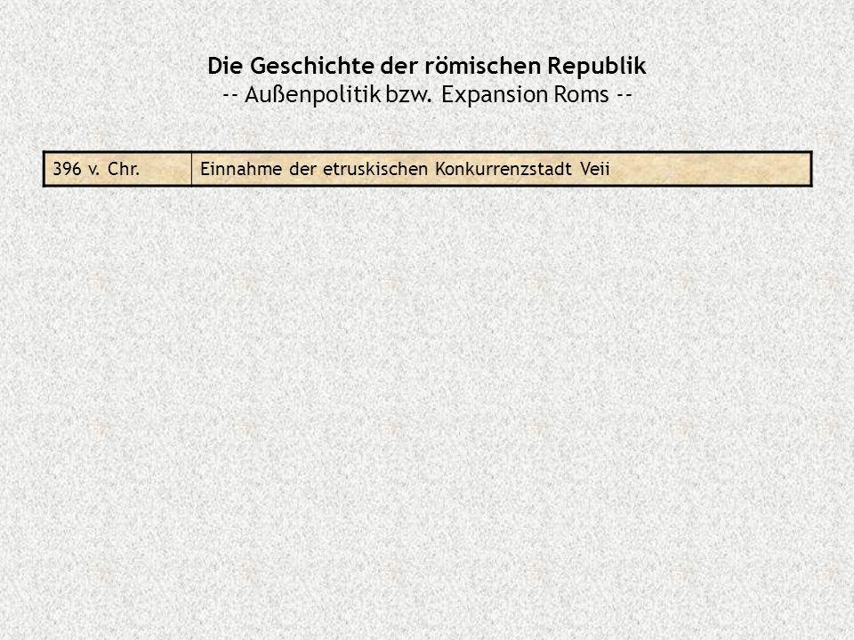 Die Geschichte der römischen Republik -- Außenpolitik bzw. Expansion Roms -- 396 v. Chr.Einnahme der etruskischen Konkurrenzstadt Veii