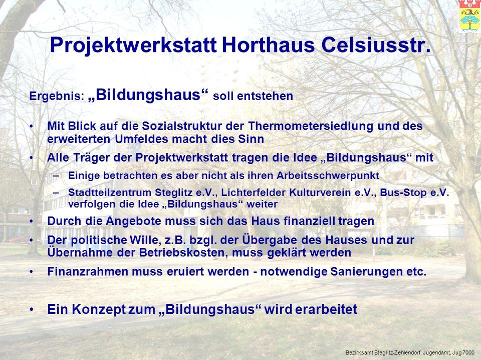 Bezirksamt Steglitz-Zehlendorf, Jugendamt, Jug 7000 Wir gehen von drei Feldern / Bereichen aus, in denen das Projekt einen notwendigen Beitrag zur Bildung der Menschen im Sozialraum leisten kann: > kulturelle Bildung > Leben im Gemeinwesen > Geld verdienen