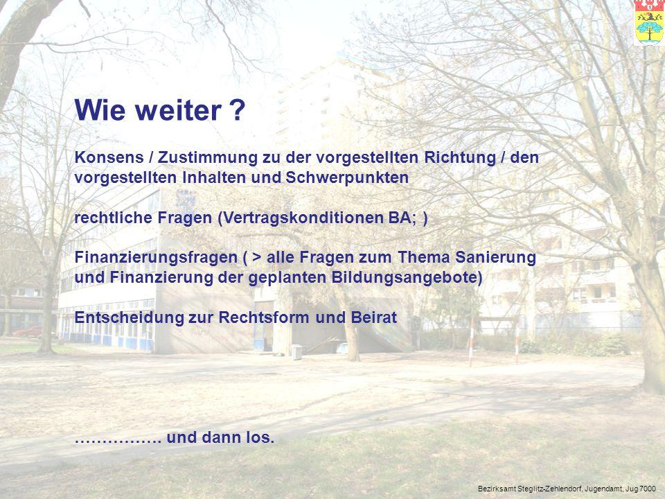 Bezirksamt Steglitz-Zehlendorf, Jugendamt, Jug 7000 Wie weiter ? Konsens / Zustimmung zu der vorgestellten Richtung / den vorgestellten Inhalten und S